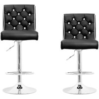Best Master Furniture Tufted Vinyl with Like-Crystals Adjustable Height Swivel Bar Stool, Set of 2, Black or White