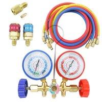 Diagnostic Manifold Gauge Set 5ft.  R12 R22 R134A R502 HVAC w/ Quick Coupler & 3 Hoses