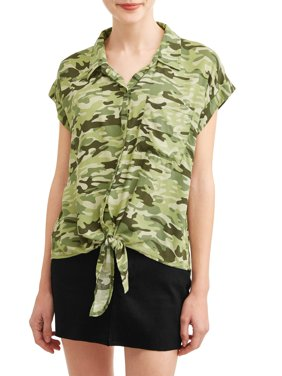 Juniors' Printed Button Tie Front Roll Tab Short Sleeve Blouse