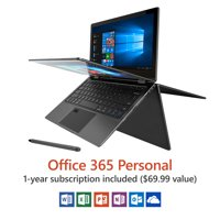 "Direkt-Tek 11.6"" Convertible Touchscreen Laptop, Windows 10, Office 365 Personal 1-Year Subscription Included ($69.99 Value), Windows Hello (Fingerprint Reader), Windows Ink (Smart Stylus included)"