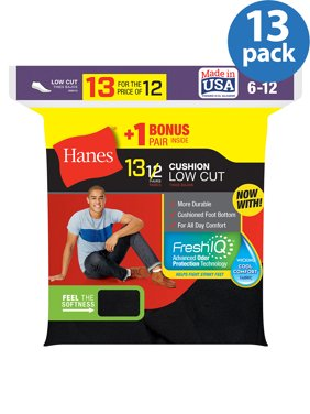 Hanes Men's Cushion FreshIQ Low Cut Socks 12 + 1 Bonus Pack