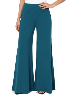 "TheMogan Women's 30"" Draped Jersey High Waisted Wide Leg Palazzo Lounge Pants"