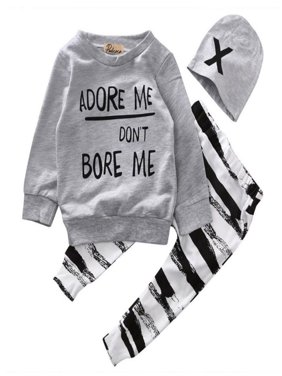 Newborn Baby Boy Girl Clothes Long Sleeve Cotton Tops T-shirt+Long Pants 2pcs Outfit Set