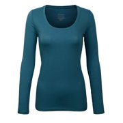 a1003be1d6ae KOGMO Junior Womens Long Sleeve Basic Solid Round Neck T-shirt Tee (S-