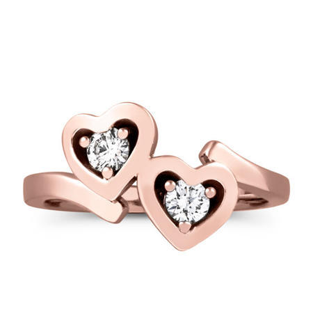 - 1/3ct Diamond Solitaire Two Stone Forever Us Heart Shape 14k Rose Gold Ring