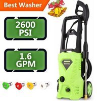 Electric Automatic Pressure Washer With Shaft 5 Quick Connect Spray Tips HFON
