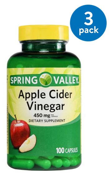 (3 Pack) Spring Valley Apple Cider Vinegar Capsules, 450 Mg, 100 (Health Benefits Of Cider Apple Vinegar Dosage)