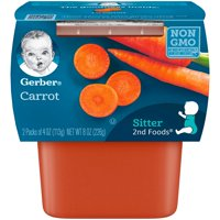 Gerber 2nd Foods Carrots Baby Food, 4 oz. Tubs, 2 count (Pack of 8)