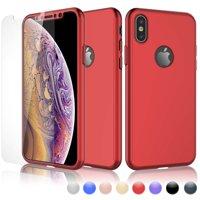 Cases For Apple iPhone XS Max / iPhone XS / iPhone XR / iPhone X, Njjex Ultra Thin Hard Slim Case Full Protective With Tempered Glass Screen Protector Case Cover -Red
