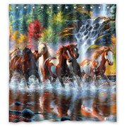 GreenDecor Horse Waterproof Shower Curtain Set With Hooks Bathroom Accessories Size 66x72 Inches