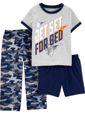 Short Sleeve T-Shirt, Shorts, and Pants Pajama Set, 3 piece set (Toddler Boys)