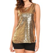 27c7cce1966 STARVNC Women Sleeveless Round Neck Sparkle Sequin Embellished Tank Top  Vest Top