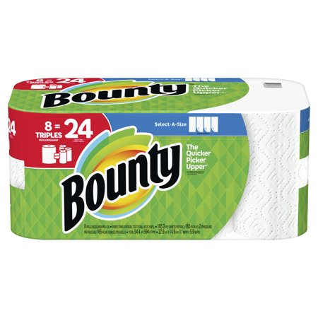 Bounty Select-A-Size Paper Towels, White, 8 Triple Rolls = 24 Regular - Household Roll Towels