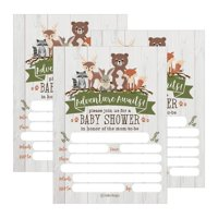 25 Cute Rustic Woodland Forest Animals Baby Shower Invitations, Printed Fill In The Blank Invites Girls Boy Gender Neutral Grey Unique Coed Nature Deer Bear Fox Themed Party Card Stock Paper Adventure