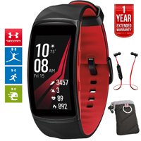 Samsung Gear Fit2 Pro Fitness Smartwatch - Red, Large (SM-R365NZRAXAR) + Fusion Bluetooth Headphones + Gear Black Jacket Case + 1 Year Extended Warranty