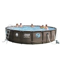 "Coleman Power Steel Swim Vista Series II 18' x 48"" Frame Swimming Pool Set with Pump, Ladder and Cover"