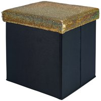 Mainstays Collapsible Storage Ottoman, Gold Glitter Sequins
