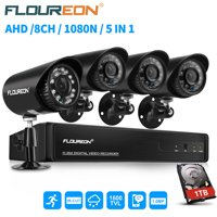 FLOUREON HD1080N Security Camera System for Home Surveillance with 4 1500TVL HD720Pro Camera and 8CH DVR Kit(Night Vison, Weatherproof IP66) for Home Surveillance with 1TB HDD