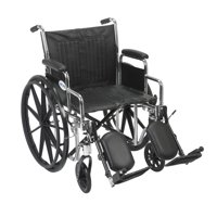 "Drive Medical Chrome Sport Wheelchair, Detachable Desk Arms, Elevating Leg Rests, 20"" Seat"