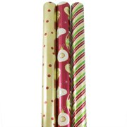JAM Paper Wrapping Premium Foil Gift Wrap 75 Sq Ft Christmastime Set