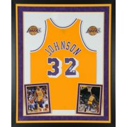 48d9977b6d2 Magic Johnson Los Angeles Lakers Deluxe Framed Autographed Gold Mitchell &  Ness Hardwood Classics Swingman Jersey