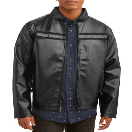 Men's Faux Leather Full Zip Jacket, up to size 3XL for $<!---->