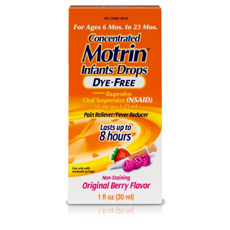 Infants' Motrin Concentrated Drops, Fever Reducer, Ibuprofen, Dye Free, Berry Flavored, 1