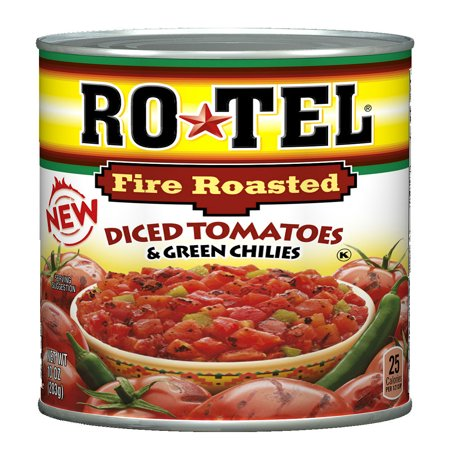 (6 Pack) RO*TEL Fire Roasted Diced Tomatoes and Green Chilies, 10 Ounce Diced Fire Roasted Tomato