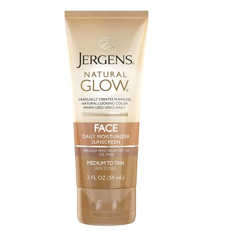 - Jergens Natural Glow Oil-Free Daily Moisturizer for Face with Broad Spectrum SPF 20, Medium to Tan Skin Tones, 2 oz