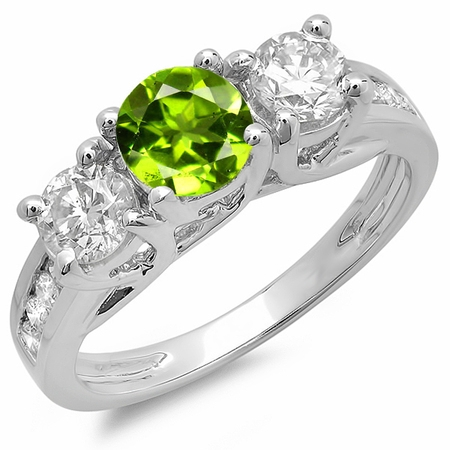Dazzlingrock Collection 14K Green Peridot & White Diamond 3 Stone Engagement Ring, White Gold, Size 5.5 - Glow In The Dark Engagement Ring