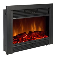 """Best Choice Products 28.5"""" Embedded Fireplace Electric Insert Heater Glass View Log Flame Remote Home"""