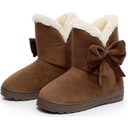 DYMADE Women's Bowtie Suede Leather Fur Lining Winter Boots Platform Fur Plush Ankle Boots