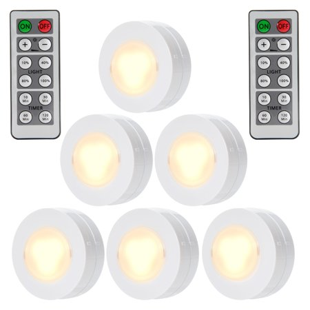 Cabinet lighting 6 Led Puck Wireless Led Puck Lights With Remote Control Battery Powered Dimmable Kitchen Under Cabinet Lighting6 Pack Walmartcom Walmart Wireless Led Puck Lights With Remote Control Battery Powered