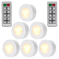 Wireless LED Puck Lights with Remote Control, Battery Powered Dimmable Kitchen Under Cabinet Lighting-6 Pack