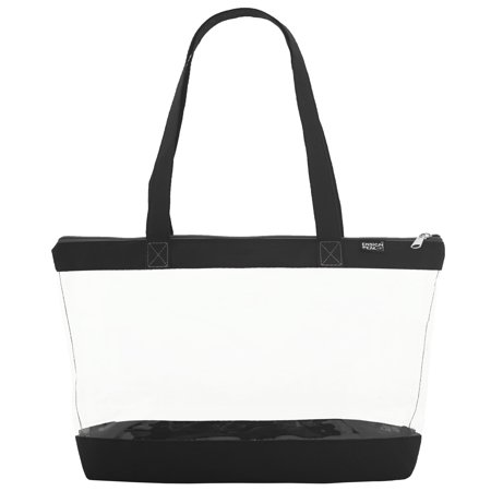 Clear Shoulder Tote with Zipper Closure - Sturdy Tote Bags