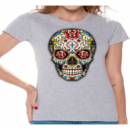 Awkward Styles Rose Eyes Skull Tshirt for Women Sugar Skull Roses Shirt Sugar Skull T Shirt Dia de los Muertos Shirt Day of Dead Gifts Halloween Shirts Women's Skull Tshirt Skull Shirts](Halloween Eye Makeup Sugar Skull)
