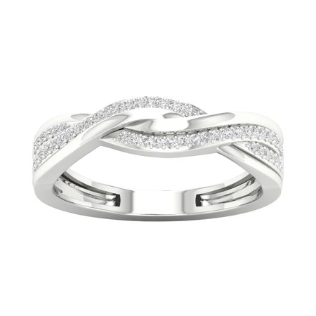 IGI Certified 1/6Ct TDW 10k White Gold Diamond Ribbon Crossover Ring (H-I, I2)