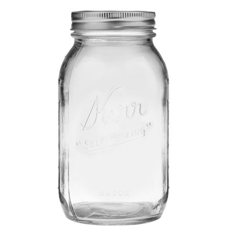 1 Quart Mason Jars - Kerr Glass Mason Jar w/ Lid & Band, Regular Mouth, 32 Ounces, 12 Count