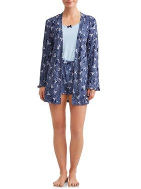 JV Apparel Women's and Women's Plus 3-piece Robe Sleep Set