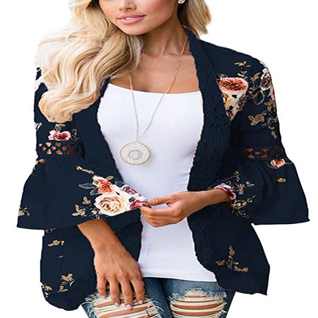 Women's Boho Lace Patchwork Floral Print Coat Tops Casual Kimono Cardigans