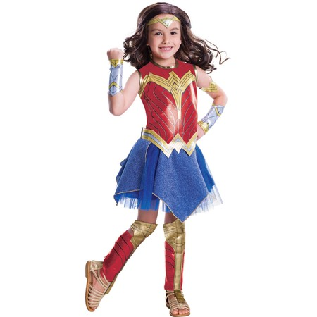 Wonder Woman Deluxe Child Halloween Costume - Girl Group Of 3 Halloween Costumes