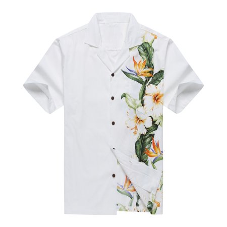 Made in Hawaii Men's Aloha Shirt Side Bird of Paradise Hibiscus Floral in White