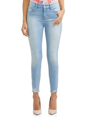 Rosa Curvy High Waist Ripped Hem Ankle Jean Women's (Light Blue Wash)
