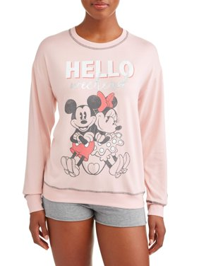 Disney Women's and Women's Plus Mickey Mouse and Minnie Pajama Sweatshirt Pink