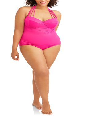 Women's Plus-Size Maillot w/ Convertible Straps One-Piece Swimsuit