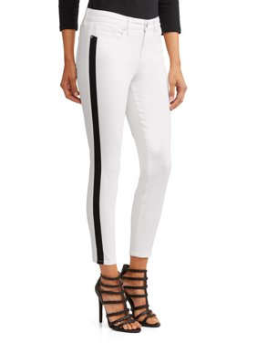 Sofía Skinny Side Stripe Mid Rise Ankle Jean Women's (White)