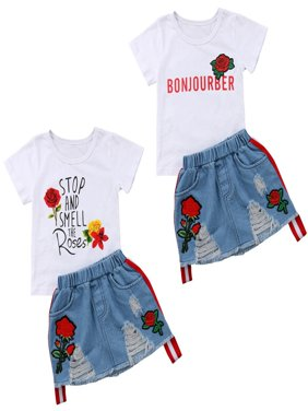 2pcs Toddler Kids Baby Girl Summer Outfits Floral Print T-shirt Tops+Denim Ripped Skirts Set Clothes