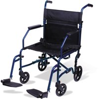 Carex Aluminum Transport Wheelchair With 19 inch Seat, Folding Transport Chair with Foot Rests, Foldable Wheel Chair for Travel and Storage
