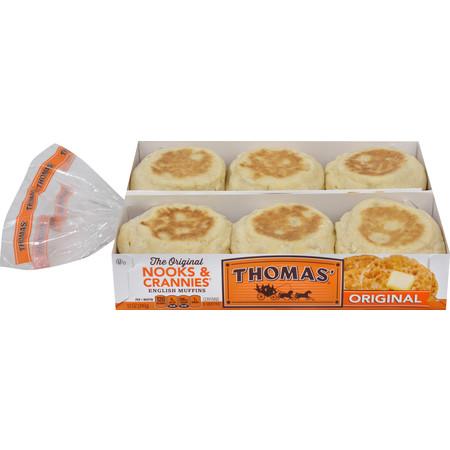 - Thomas' Original Nooks & Crannies English Muffins, Plain, 12 count, 24 oz