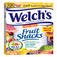 (2 Pack) Welch's Fruit Snacks, Tangy Fruits, 0.9 Oz, 22 Ct